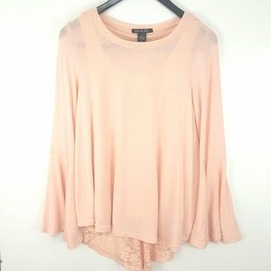 Olivia & Grace Long Bell Sleeve Tunic Pink Small
